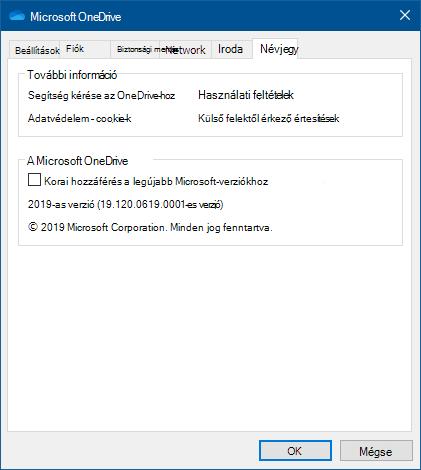 A OneDrive felhasználói kezelőfelületéről