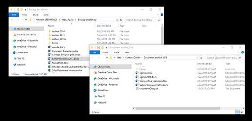 Egymást átfedő mappák a Windowsban