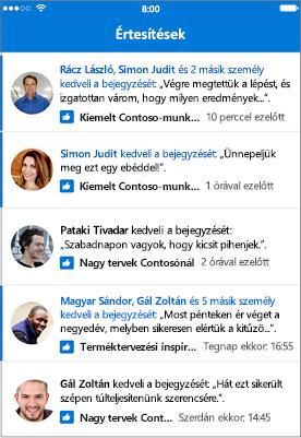Az Outlook Csoportok mobilapp értesítései