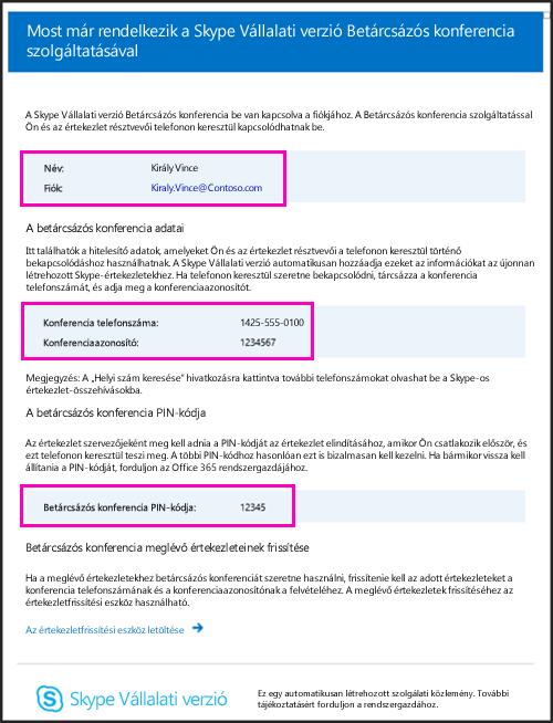 Betárcsázós konferenciáról szóló e-mail