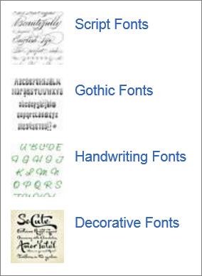 A weben megtalálható betűtípusok