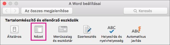 A Word beállításai ablakban a Nézet ikonra kattintva módosíthatja a megjelenítési beállításokat.