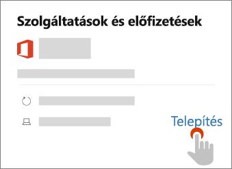 A Telepítő linket mutatja a Szolgáltatások és előfizetések oldalon