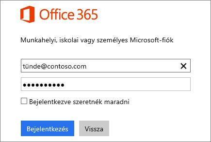 Képernyőkép az Office 365 bejelentkezési ablaktáblájáról