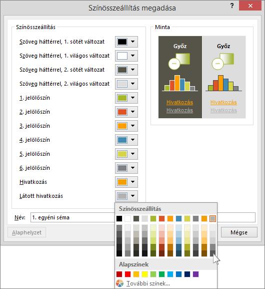 Hivatkozás színének kiválasztása a PowerPointban