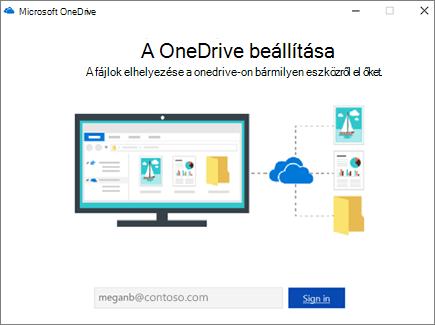 A OneDrive beállítási képernyője
