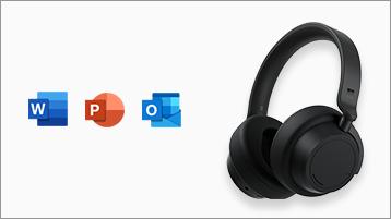 Surface Headphones fejhallgató az Office-alkalmazások ikonjaival