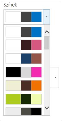 A színválasztó menü egy új SharePoint-webhelyen