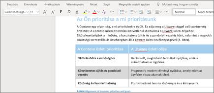 Szöveg formázása a Word Online-ban