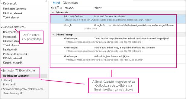A Gmail-fiók hozzáadása után két fiókot fog látni az Outlookban