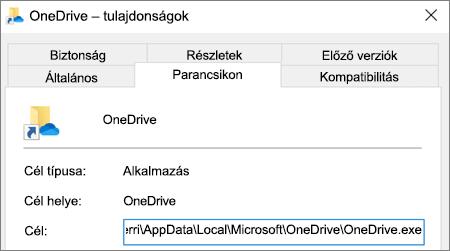 Képernyőkép a OneDrive alkalmazás tulajdonságainak menüjéről