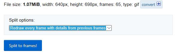 A feltöltött GIF-fájl és a Split to Frames (Felosztás képkockákra) gomb