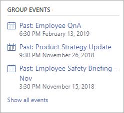 A Yammer csoport eseményei szakasza élő eseményekkel