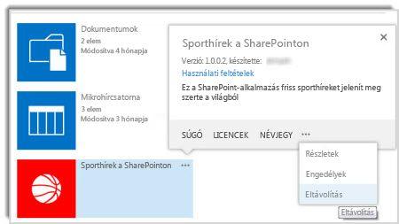 Képernyőkép: az Eltávolítás parancs az app tulajdonságpaneljén