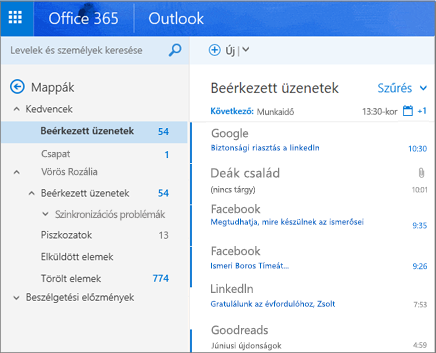 A Webes Outlook elsődleges nézete