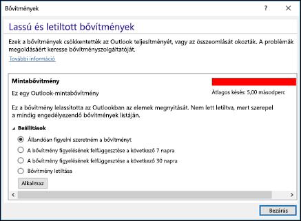 Outlook-bővítmények letiltása