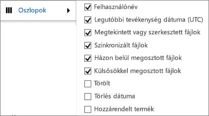 A OneDrive Vállalati verzió Tevékenységjelentésének oszlopai
