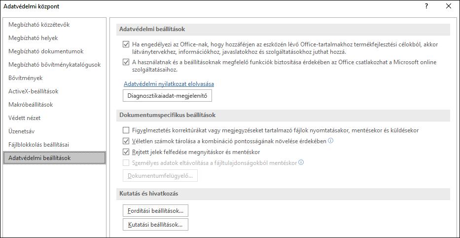 Az Office Adatvédelmi központ adatvédelmi beállításai
