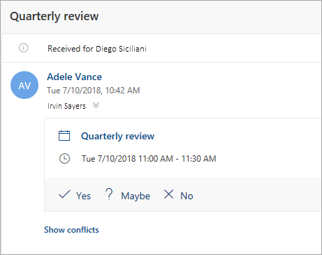 Képernyőkép egy meghatalmazottnak küldött értekezletmeghívóról