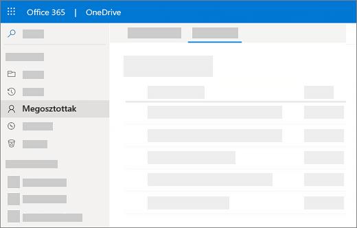 Képernyőkép: az általam megosztva nézet a OneDrive vállalati verzióban