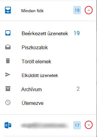 Az Outlook mappákat jeleníti meg, a bekarikázott lenyíló lista nyilakkal a képernyő jobb oldalán.