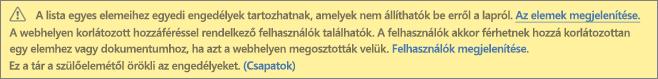 Kép az egyedi engedélyekről szóló, lista vagy tár esetén látható üzenetről