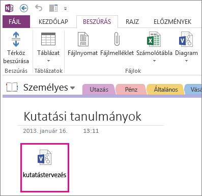 Visio-fájl ikonjának beszúrása egy lapra
