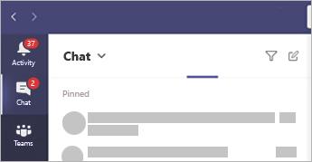 A beszélgetések helyének megjelenítése a Teams app bal oldalán