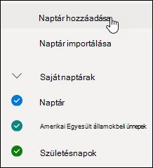 A naptár hozzáadását bemutató képernyőkép