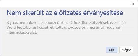 """Képernyőkép a """"Nem sikerült az előfizetés ellenőrzése"""" hibaüzenetről"""