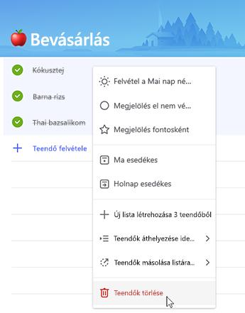 A teendők helyi menüvel történő törlését ábrázoló képernyőkép