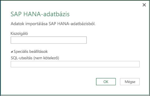 Az Excel Power BI SAP HANA-adatbázis párbeszédpanelje importáláshoz