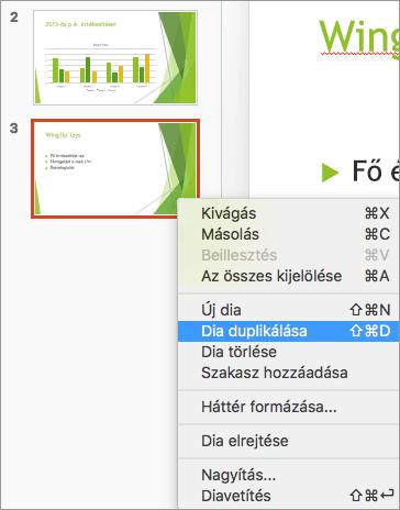 Képernyőfelvétel, amelyen egy dia van kijelölve, és a helyi menü Dia duplikálása parancsa van kiválasztva.