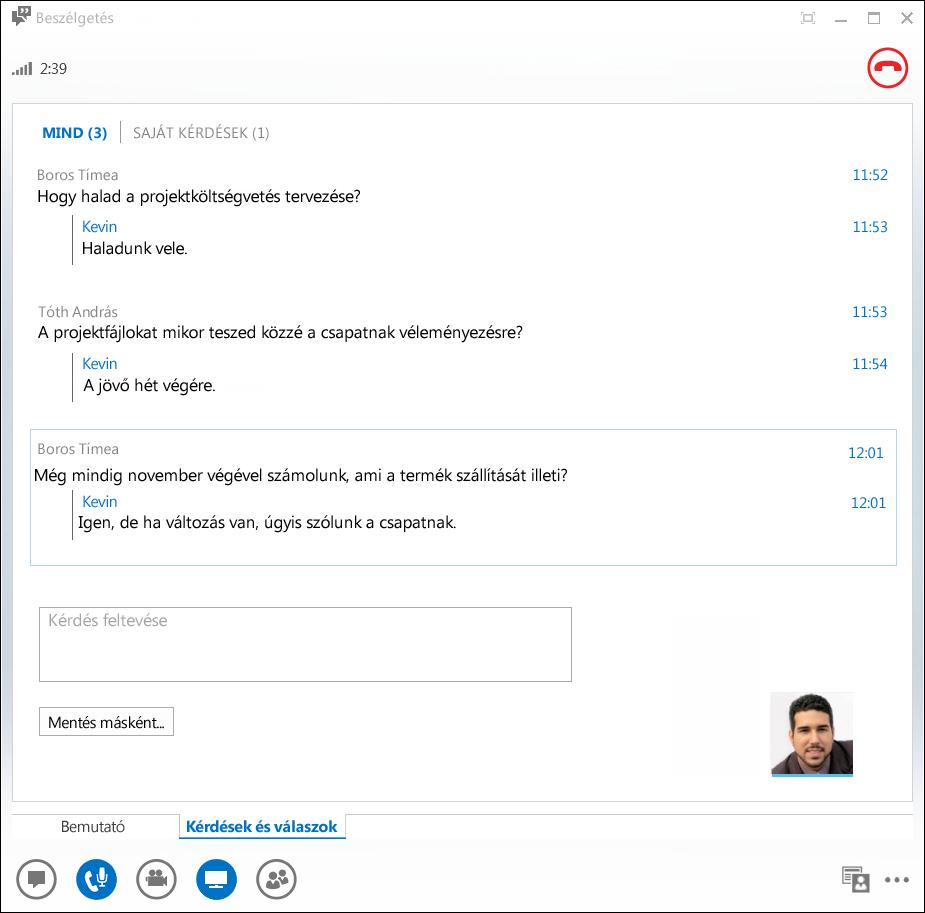 Képernyőkép: a Kérdések és válaszok kezelője