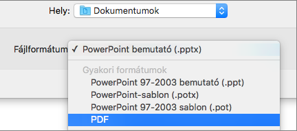 Kép a Mac PowerPoint 2016 Mentés másként párbeszédpaneljén lévő Fájlformátumok lista PDF lehetőségéről.