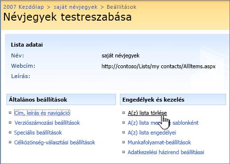 Kattintás a lista törlésére szolgáló elemre a beállítások között, a második oszlopban