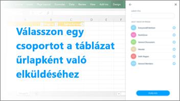 Képernyőkép: A csoport kiválasztása, amelybe a táblázatot küldeni szeretné