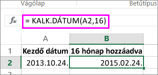 a KALK.DÁTUM függvény használata hónapok dátumhoz adására