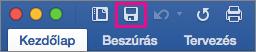 A menüszalagon kiemelt Mentés ikon a Mac Word 2016-ban.