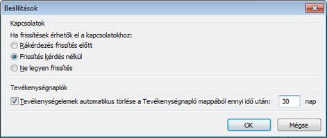 Az Outlook Közösségi Összekötőre vonatkozó beállítások párbeszédpanelje