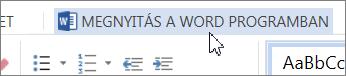 A Megnyitás a Word programban gomb