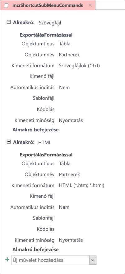Az Accessben két almakrót tartalmazó makró képe