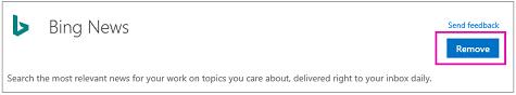 A Bing-hírek összekötő Eltávolítás gombja