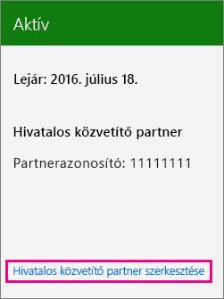 A Hivatalos közvetítő partner szerkesztése lehetőség választása