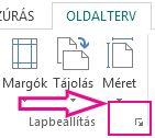 Oldalbeállítás párbeszédpanel-megnyitó ikon