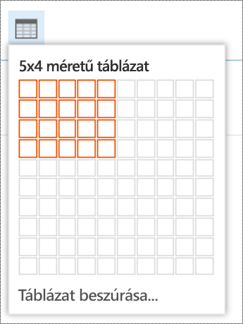 Egyszerű táblázat hozzáadása a Webes Outlookban.