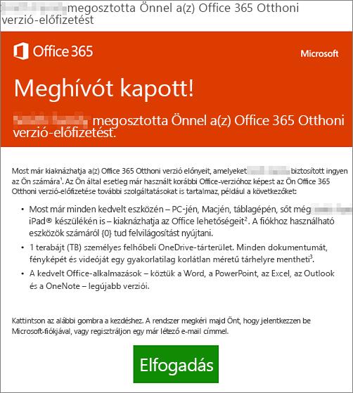 Az Office 365 Otthoni verzió megosztásáról tájékoztató e-mail