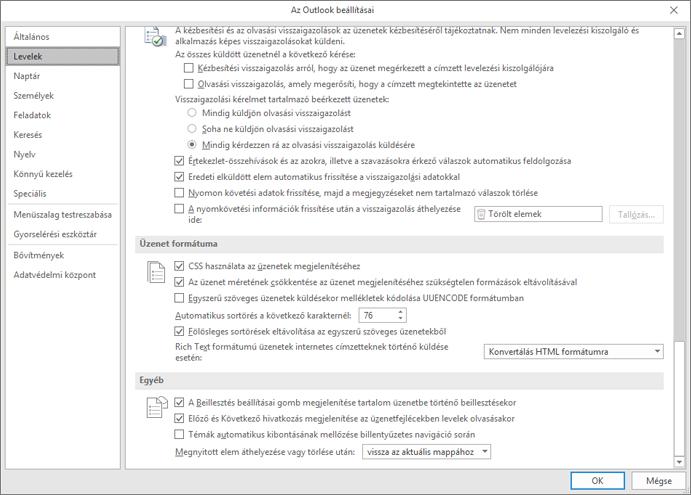Az Outlook beállításai lapon kiemelt Mail kategóriával