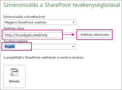 Projekt mentése a SharePointban