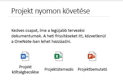 Beágyazott fájlok egy lapon a Windows 10 OneNote-ban